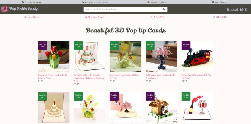 Bespoke e-commerce development for Pop Robin Cards