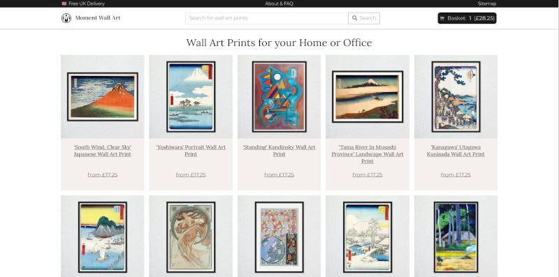 Custom e-commerce development for Moment Wall Art