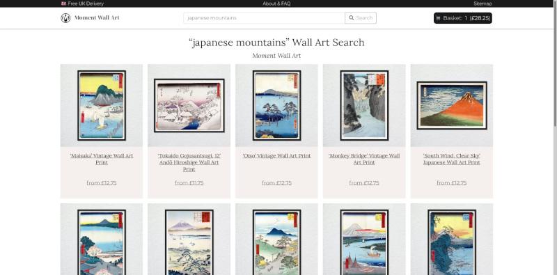 Custom e-commerce search development for Moment Wall Art